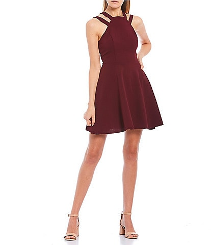 B. Darlin Square Neck Double Strap Skater Dress