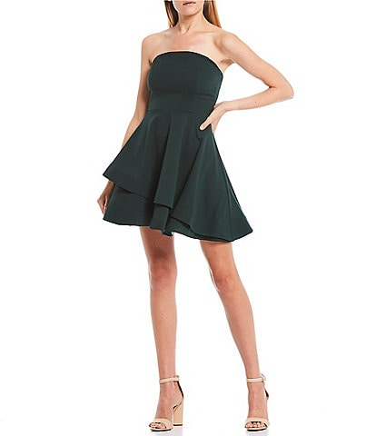 B. Darlin Strapless Double Hem Fit-and-Flare Dress