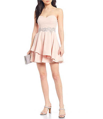 B. Darlin Strapless Embroidered Waist Double Hem Dress