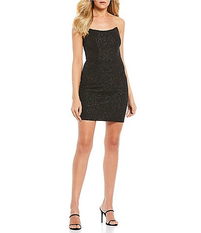 B. Darlin Strapless Glitter Point-Neck Bodycon Dress