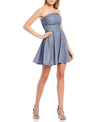 B. Darlin Strapless Metallic Shine X-Side Fit-and-Flare Dress