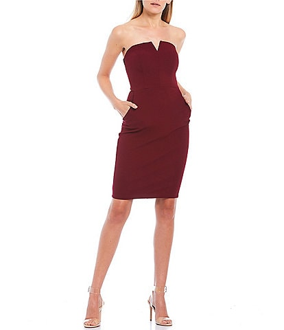 B. Darlin Strapless Notched-Neckline Sheath Dress