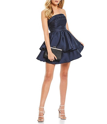 B. Darlin Strapless Satin Double Hem Fit-and-Flare Dress