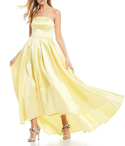 B. Darlin Strapless Satin High-Low Ball Gown