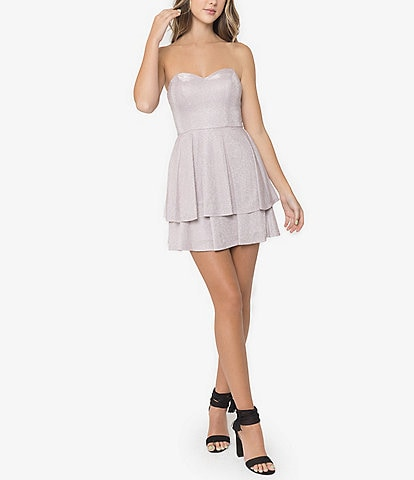 B. Darlin Strapless Sweetheart-Neck Metallic Shine Double Hem Dress