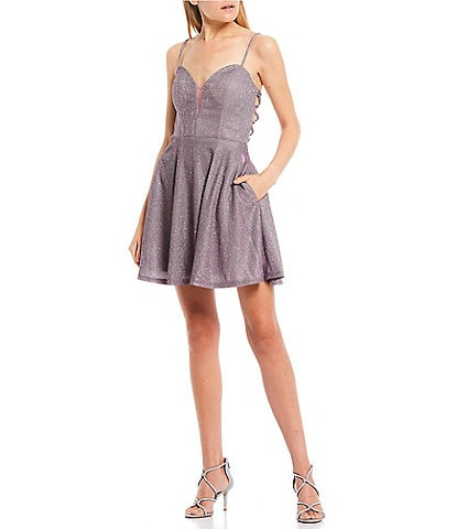 B. Darlin Strappy Cage Back Metallic Shine Fit & Flare Dress