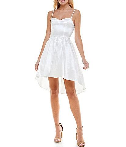 B. Darlin Sweetheart-Neck High-Low Fit-And-Flare Taffeta Dress
