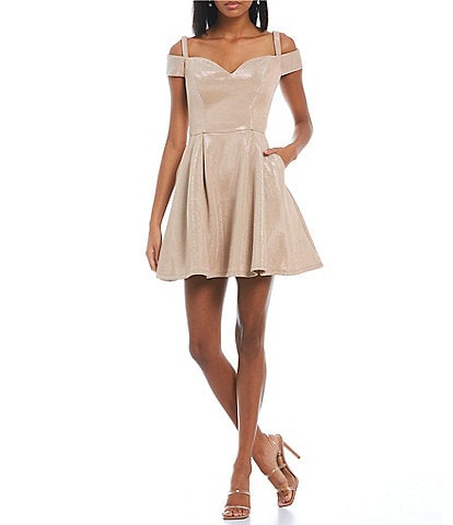 B. Darlin Sweetheart Neck Off-The-Shoulder Shiny Metallic Fit-And-Flare Dress