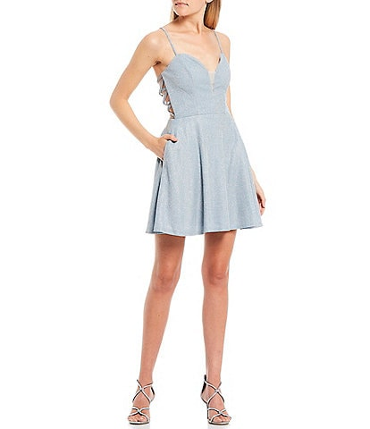 B. Darlin Sweetheart-Neck Shine Cage-Back Fit-and-Flare Dress