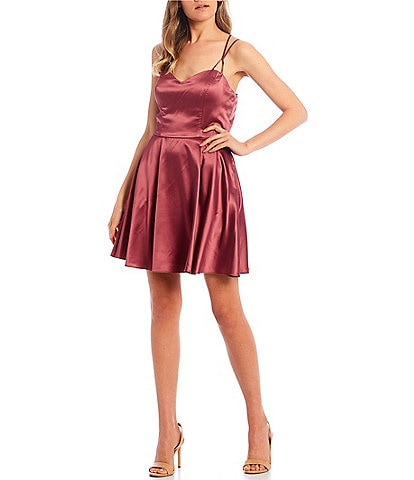 B. Darlin Sweetheart X-Back Dull Charmeuse Satin Fit-and-Flare Dress