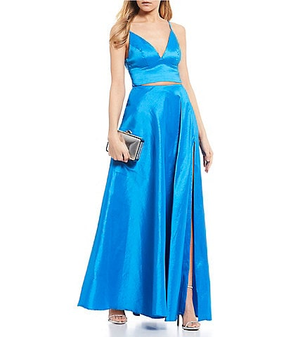 B. Darlin Tafetta Bow-Back Two-Piece Ballgown
