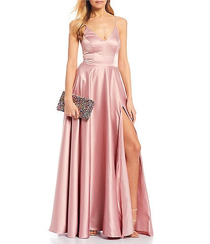 B. Darlin V-Neck Spaghetti Strap Side Slit Satin Ball Gown