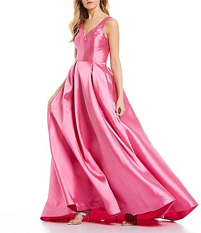 B. Darlin V-Neck V-Back Satin Ball Gown