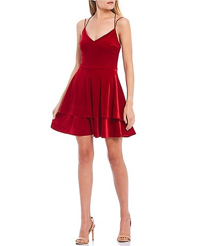 B. Darlin V-Neck Strappy Back Double Hem Velvet Skater Dress