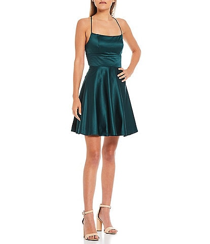 B. Darlin Lace-Up Back Satin Fit-and-Flare Dress