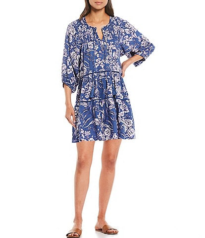 B.O.G. Collective Adeline Tie Notch Neck Blouson Sleeve Tiered Dress