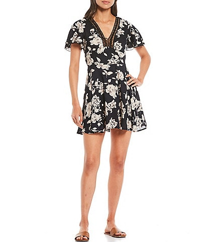 B.O.G. Collective Agave Floral Print V-Neck Mini Dress