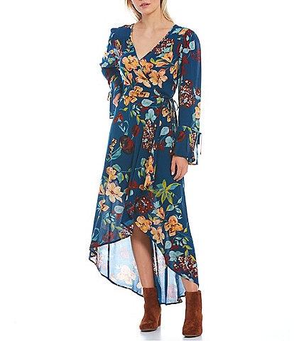 B.O.G. Collective Caranna Floral Print Faux Wrap High-Low Maxi Dress
