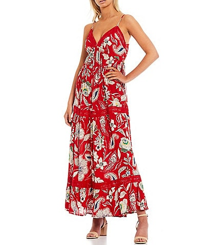 B.O.G. Collective Gisal Floral Print Lace Trim V-Neck Sleeveless Tiered Maxi dress