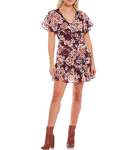 B.O.G. Collective V-Neck Flutter Sleeve Floral Faux Wrap Mini Dress