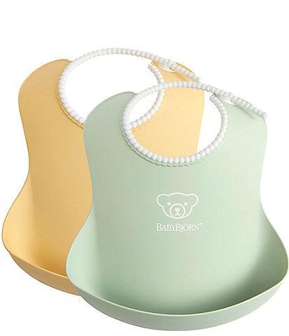 BABYBJORN 2-Pack BPA -Free Catchable Baby Bib
