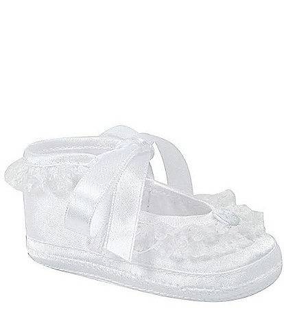 Baby Deer Satin Lace Trim Slipper Crib Shoes