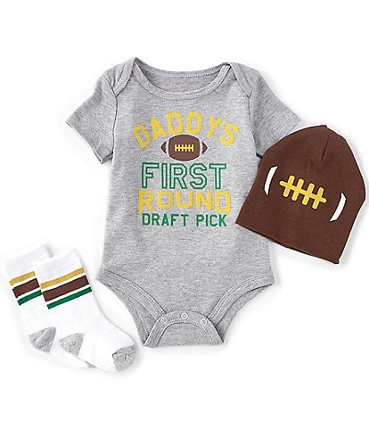 Baby Starters Baby Boys 3-12 Months Short Sleeve Daddy's First Round Draft Pick 3-Piece Set