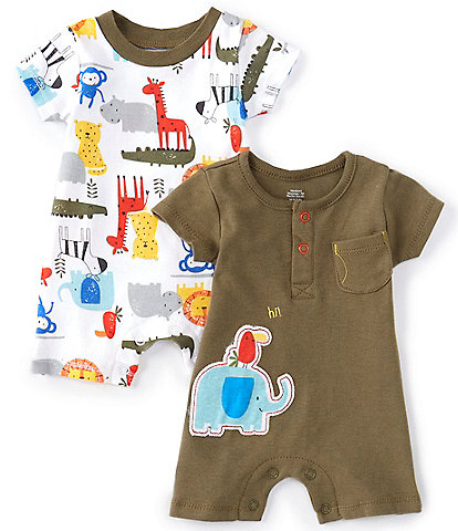 Baby Starters Baby Boys Newborn-9 Months Short-Sleeve Jungle Animal 2-Pack Rompers