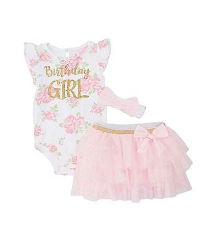 Baby Starters Baby Girls 12-18 Months Floral Birthday Girl Bodysuit, Skirt, & Headband Set