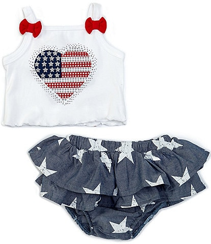 Baby Starters Baby Girls 3-12 Months Americana Tank & Star Chambray Diaper Cover Set