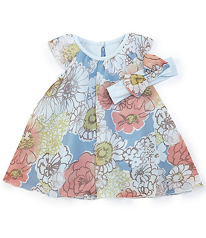 Baby Starters Baby Girls 3-12 Months Chiffon Floral Dress Bodysuit