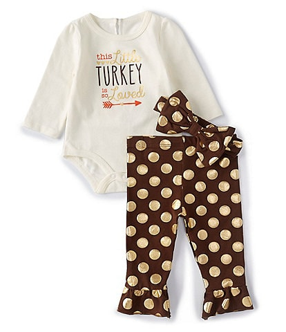Baby Starters Baby Girls 3-12 Months Thanksgiving Little Turkey Layette Set