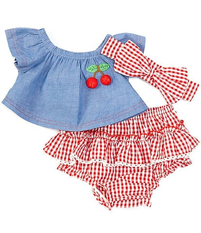 Baby Starters Baby Girls 3-24 Months Chambray Swing Top & Gingham Skirted Bloomer Set