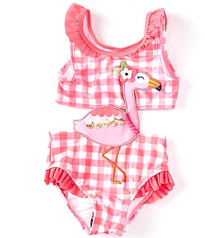 Baby Starters Baby Girls 3-24 Months Flamingo Gingham Two-Piece Swimsuit