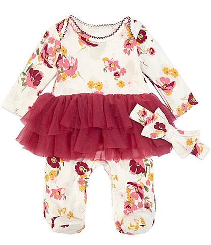 Baby Starters Baby Girls Newborn-9 Months Floral-Printed Tutu-Skirted Footed Coverall