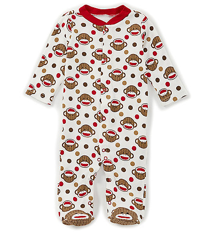 Baby Starters Baby Newborn-9 Months Long Sleeve Sock Monkey Footed Sleeper