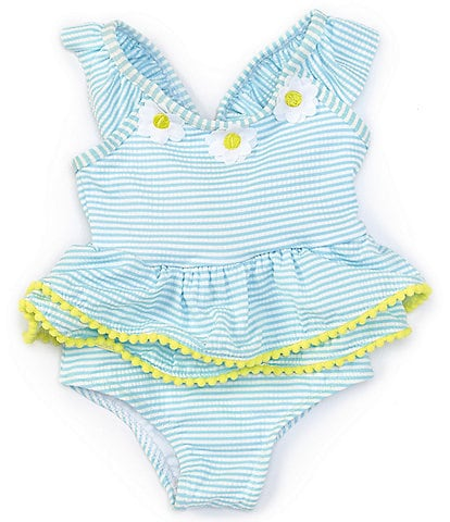 Baby Starters Toddler Girls 2T-4T Daisy-Appliqued Striped Seersucker One-Piece Swimsuit