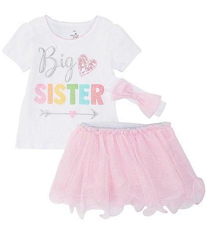 Baby Starters Toddler Girls 3T-4T Big Sister Tee, Tutu Skirt, & Headband Set