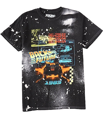Back To The Future Layered Cars Graphic Tie-Dyed Short-Sleeve T-Shirt