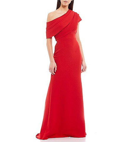 Badgley Mischka Asymmetrical Off-The-Shoulder Boat Neck Butter Crepe Gown