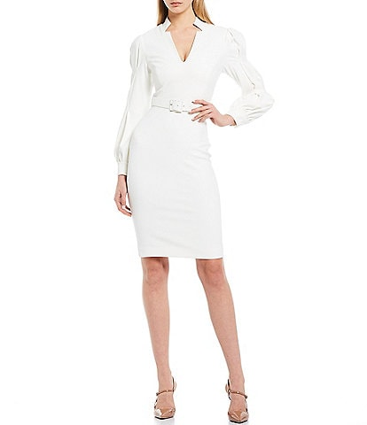 Badgley Mischka Belted Long Puff Sleeve Mandarin V-Neckline Dress