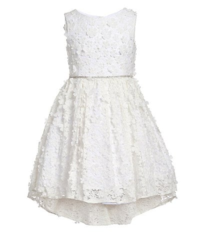 Badgley Mischka Big Girls 7-16 3D Floral Hi-Low Dress