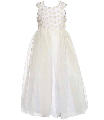 Badgley Mischka Big Girls 7-16 3D Floral/Tulle Fit & Flare Dress