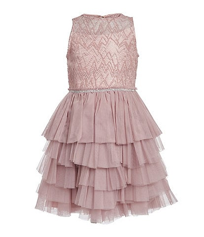 Badgley Mischka Big Girls 7-16 Beaded Illusion/Tutu Fit & Flare Dress