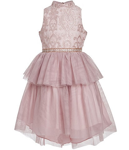 Badgley Mischka Big Girls 7-16 Embroidered/Tiered Fit & Flare Dress