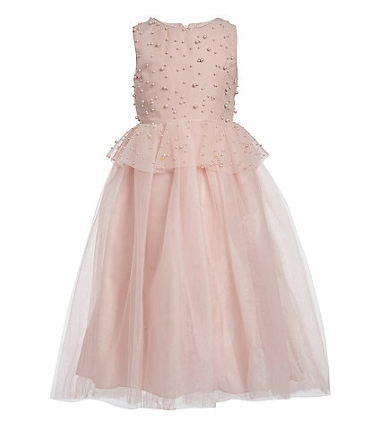 Badgley Mischka Big Girls 7-16 Faux-Pearl Peplum Ball Gown