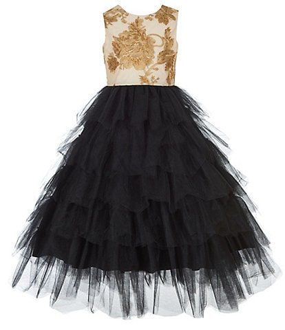 Badgley Mischka Big Girls 7-14 Floral/Tiered Long Fit-And-Flare Dress