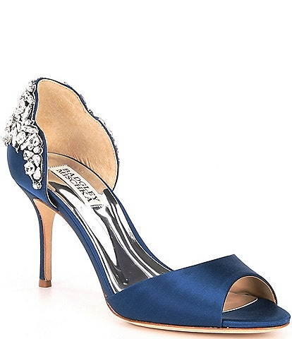 Badgley Mischka Celeste Satin Crystal Embellished d'Orsay Pumps