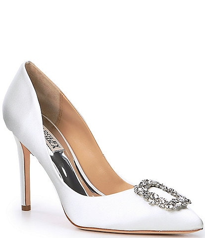 Badgley Mischka Cher Satin Brooch Embellished Stiletto Pumps