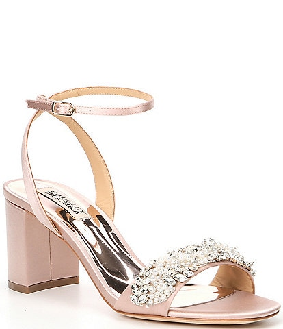 Badgley Mischka Clara Jewel Embellished Satin Dress Sandals